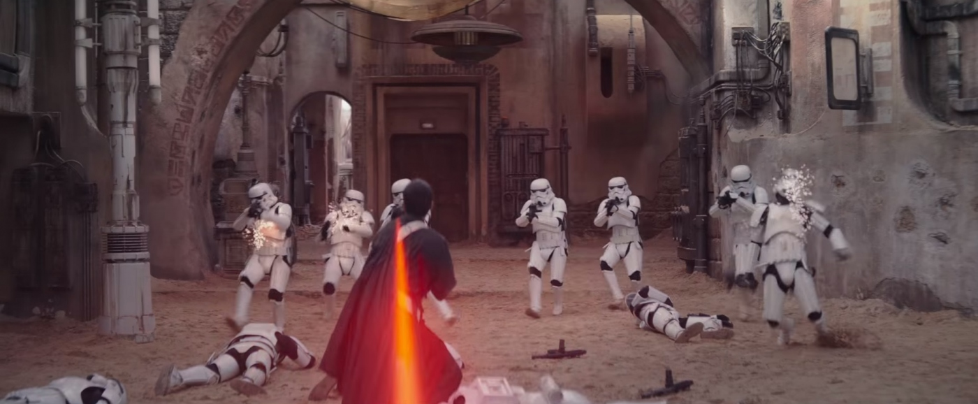 Rogue one a star wars story trailer 3 chirrut imwe fights stormtroopers