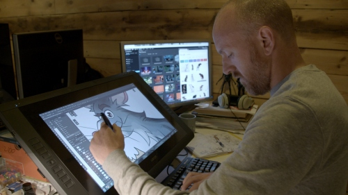 Jellyfish Pictures Art Director Ross Burt creating a character for Dennis and Gnasher
